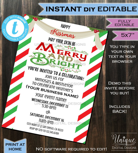 Rodan Fields Invitation Business Launch Party BBL Invite R+F Kissmas Bright Winter Cocktails Mimosa Skin Printable INSTANT Self EDITABLE 5x7
