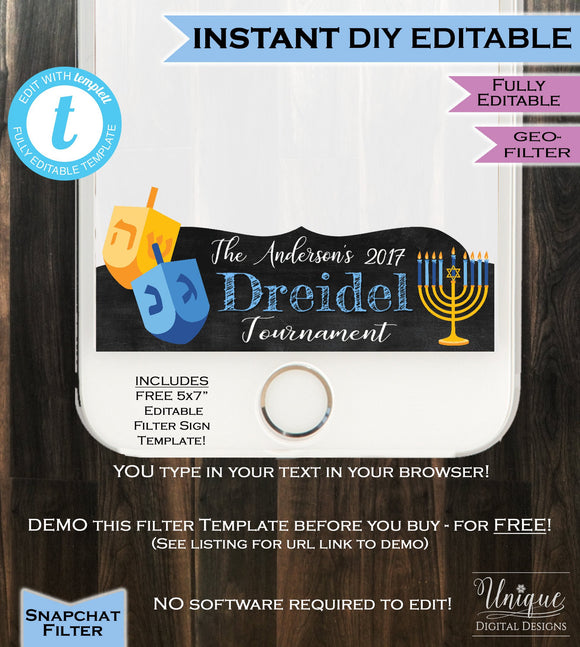 Dreidel Tournament Snapchat Geofilter- Hanukkah Menorah Dreidel Chanukah Holiday Star David Personalize Custom Digital INSTANT Self EDITABLE
