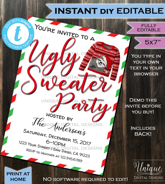 Ugly Christmas Sweater Party Invitation - Ugly Sweater Invitation Happy Holiday Party Xmas - Printable Custom DIY INSTANT Self EDITABLE 5x7