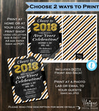 2019 New Years Eve Invitation Celebration Invite - New Years Eve Party Glitter Champagne Printable Personalized INSTANT Self EDITABLE 5x7