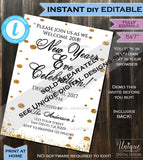 Editable Happy New Years Eve Party Invitation, Adult 2019 New Years Eve Party, Holiday Party Printable Glitter Template INSTANT DOWNLOAD 5x7