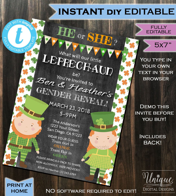 St Patricks Day Gender Reveal Invitation Little Leprechaun Baby Invite Baby Shower Personalize Custom Printable INSTANT Self EDITABLE 5x7