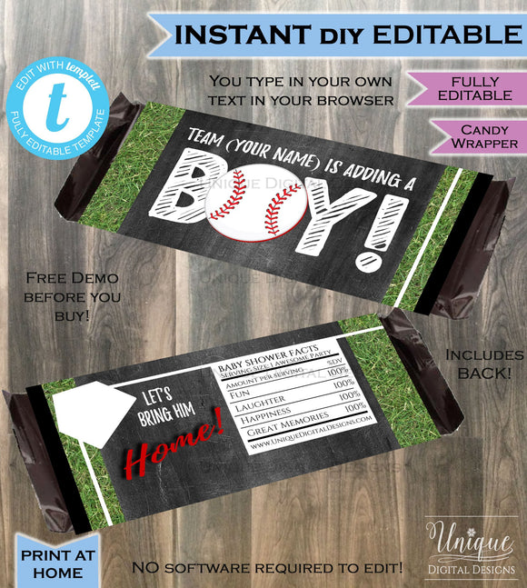 Baseball Baby Boy Candy Bar Wrapper Chocolate Bar Grand Slam Baby Boy Shower theme decoration Printable INSTANT Download SelfEDITABLE 1.55oz