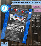 Water Party Invitation Super Soaked Red White Blue 4th of July Splish Splash Summer Pool Party Invite Custom Printable INSTANT EDITABLE 5x7