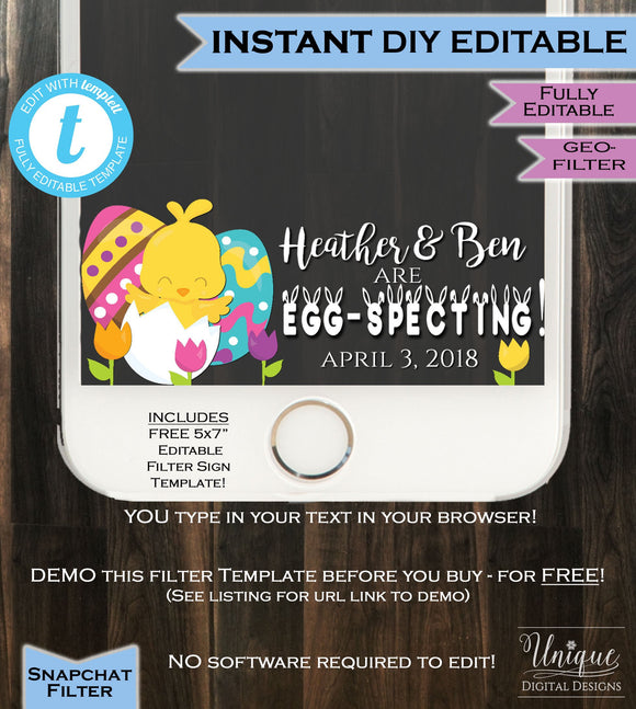 Easter Baby Shower Snapchat Geofilter Girl Boy He She Chick Eggspecting Gender Reveal Party Filter Personalize Custom INSTANT Self Editable