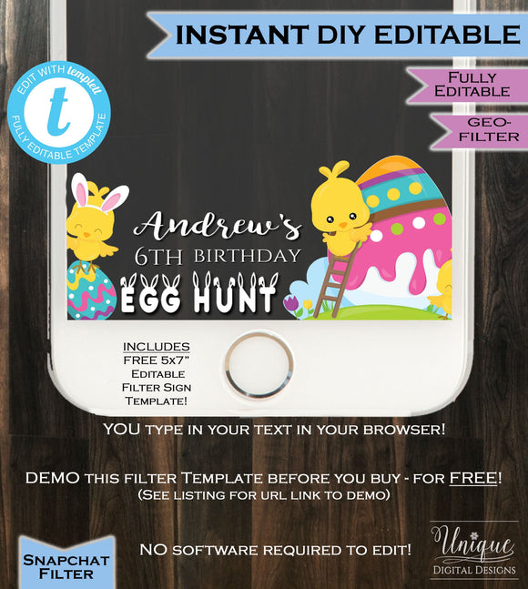 Easter Egg Hunt Snapchat Geofilter Easter Birthday Party Eggs ANY AGE Annual Egghunt Easter Filter Personalize Custom INSTANT Self Editable
