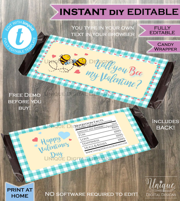 Bee Mine Valentines Day Candy Bar Wrapper Love Chocolate Bar For Him theme decoration Valentine Gift Printable INSTANT Self EDITABLE 1.55oz