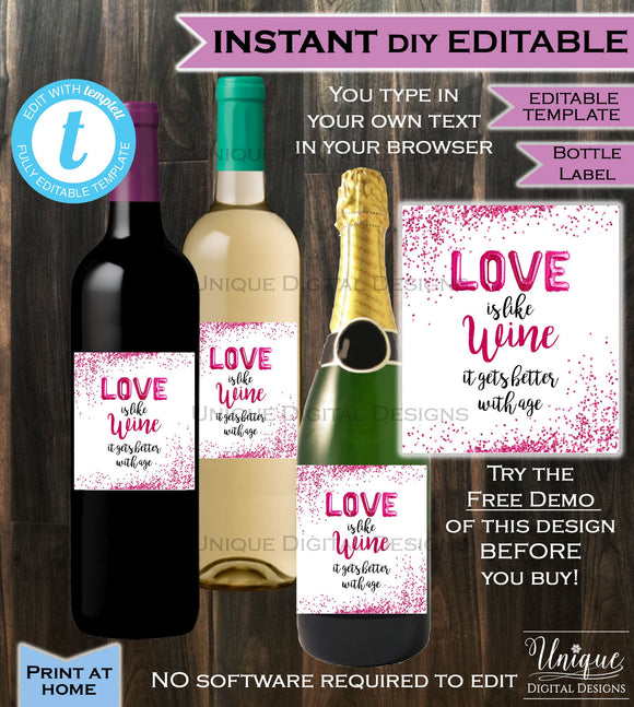 Valentines Day Love is like Wine Bottle Label Wrap Welcome LOVE Baby Pink Girl Gift for Her Glitter Custom Printable INSTANT Self-EDITABLE