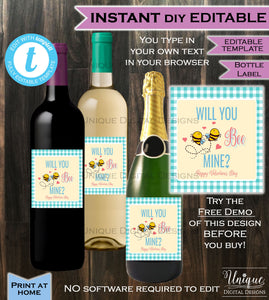 Will you BEE my Valentine Wine Bottle Label Wrap Valentine's Day Gift for Him Gift for Her - Decorate Custom Printable INSTANT Self-EDITABLE