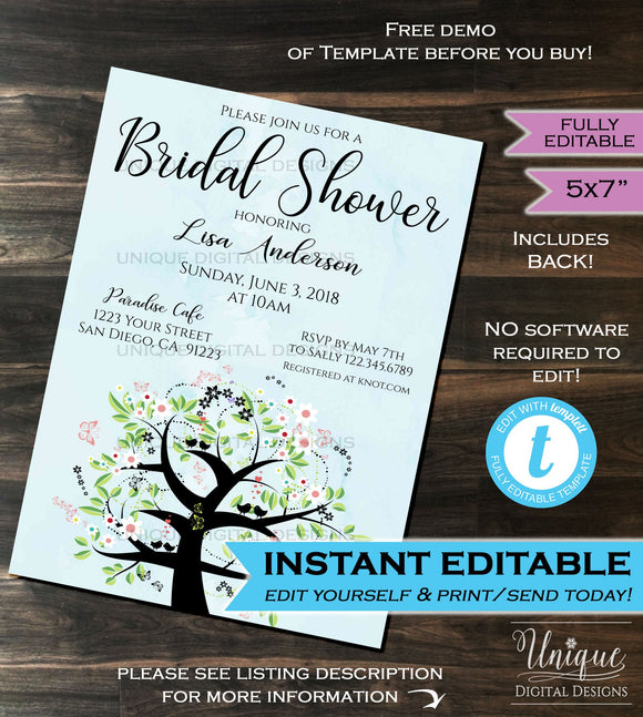 Bridal Shower Invitation Wedding Invite Bride to be Bachelorette Watercolor Background Template Printable Custom INSTANT Self EDITABLE 5x7