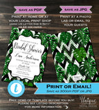 Bridal Shower Invitation Black White Green Wedding Invite Wild Bachelorette Bride Fern Template Printable Custom INSTANT Self EDITABLE 5x7