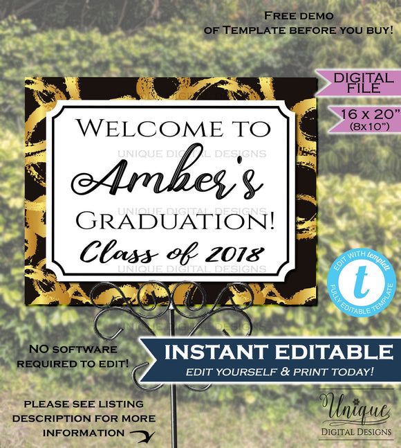 Graduation Party Welcome Sign Grad Signage Welcome to Poster Black Gold Sign Personalize Custom Printable INSTANT SelfEDITABLE 16x20 Digital