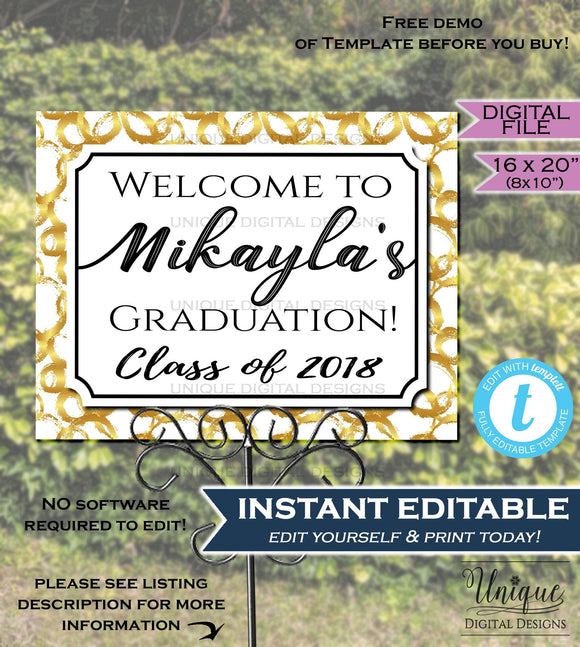 Graduation Party Welcome Sign Grad Signage Welcome to Poster White Gold Sign Personalize Custom Printable INSTANT SelfEDITABLE 16x20 Digital