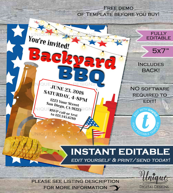Backyard BBQ Invitation Red White Blue Stars Food Summer Yard Grill Out July 4th Barbeque Party Printable Personalized INSTANT EDITABLE 5x7