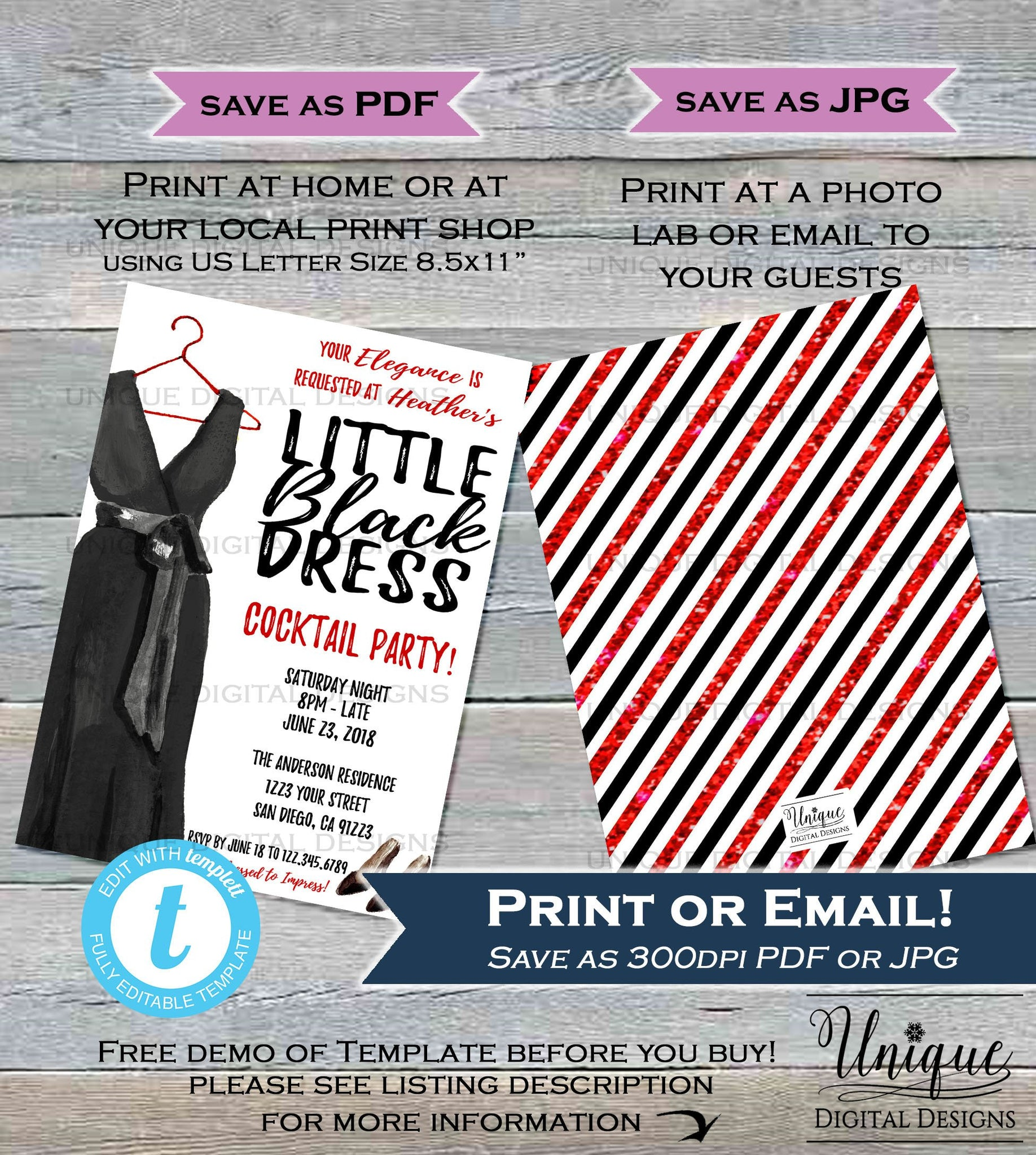 ... Little Black Dress Invitation Cocktail Party Invite Girls Night Out Dress to Impress Ladies Wine ...