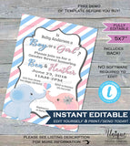 Baby Elephant Gender Reveal Invitation Boy or Girl Baby Shower Invite Pink Blue Cute He or She Custom Printable INSTANT Self EDITABLE 5x7