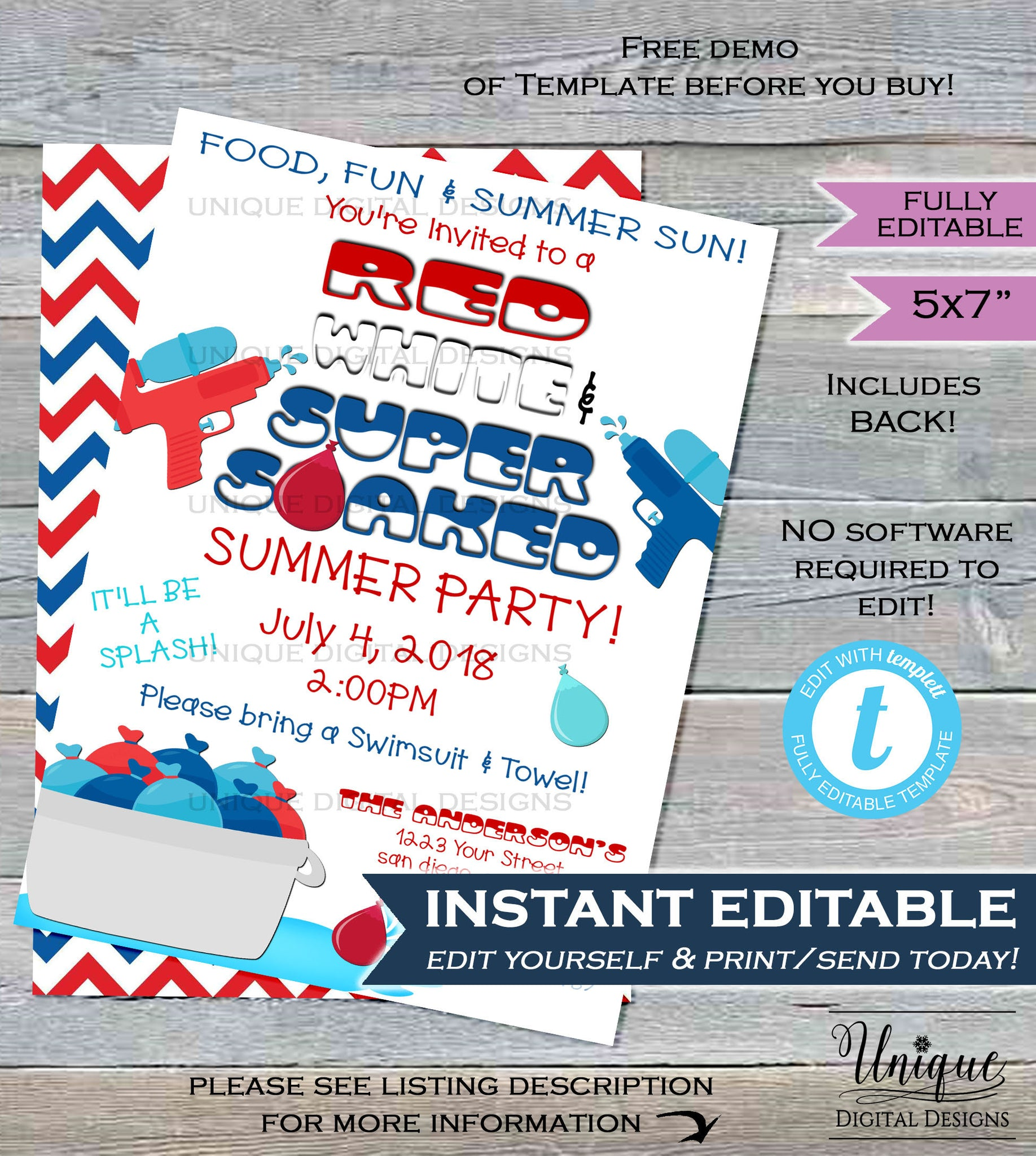 water party invitation super soaked red white blue 4th of july splish