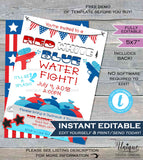 Water Fight Invitation Red White Blue 4th of July Super Soaked Splish Splash Summer Pool Party Invite Custom Printable INSTANT EDITABLE 5x7