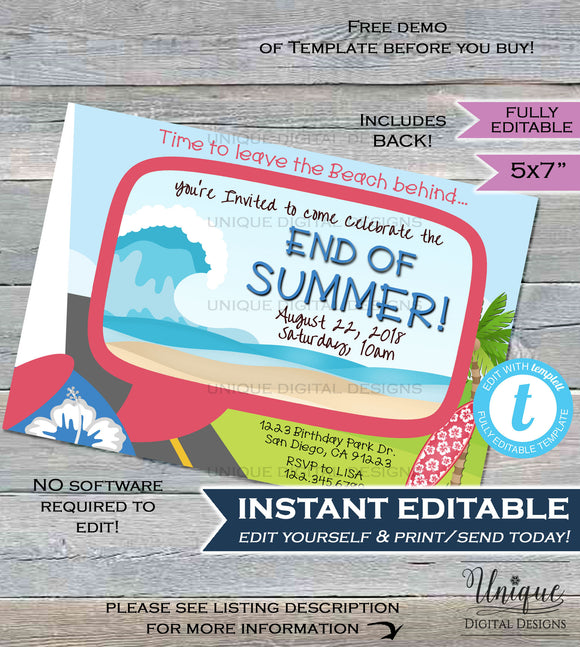 End of Summer Party Invitation Hibiscus Flower Wagon Bye Beach Surfs Up Hello Winter Kick Off Invite Printable Custom INSTANT EDITABLE 5x7