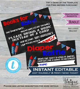 Diaper Raffle + Books for Baby Invitation Insert 4th of July Firecracker Baby Shower Invite Baby Book request Printable Kit INSTANT EDITABLE