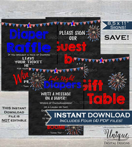 Baby Shower Signs, Late Night Diaper Thoughts Diaper Raffle Gift Table Guestbook, 4th of July Firecracker Party Decor Print INSTANT DOWNLOAD
