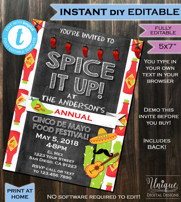 Cinco de Mayo Invitation Spicy Food Festival Invite Spice it Up Hot Sauce Taco Party Chalkboard Custom Printable INSTANT Self EDITABLE 5x7