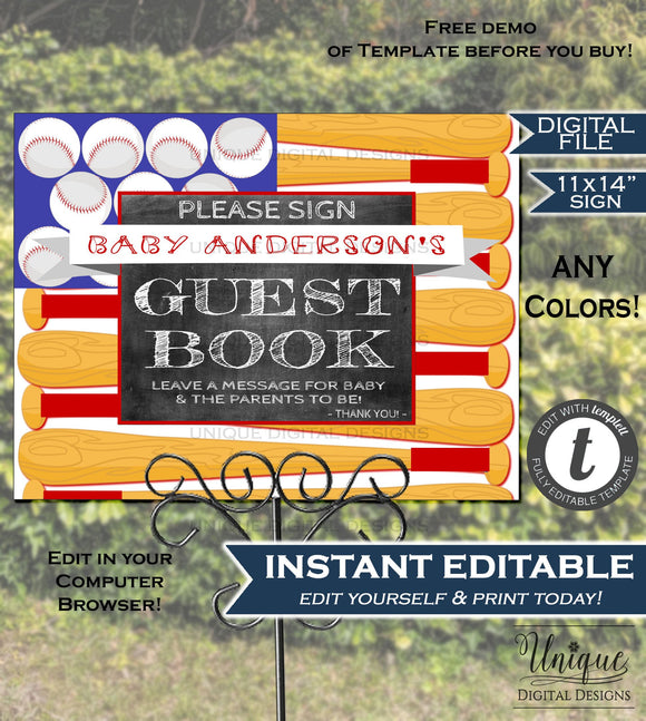 Baseball Guestbook Sign Baby Shower Signage 4th of July Baseball Flag Chalkboard Sign ANY Color Custom Poster Print INSTANT EDITABLE 11x14