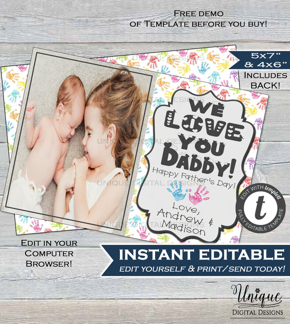 Personalized Fathers Day Photo Card, Editable for Dad from Kids, Hand print Last Minute Gift for Dad Photo Gift Printable INSTANT DOWNLOAD