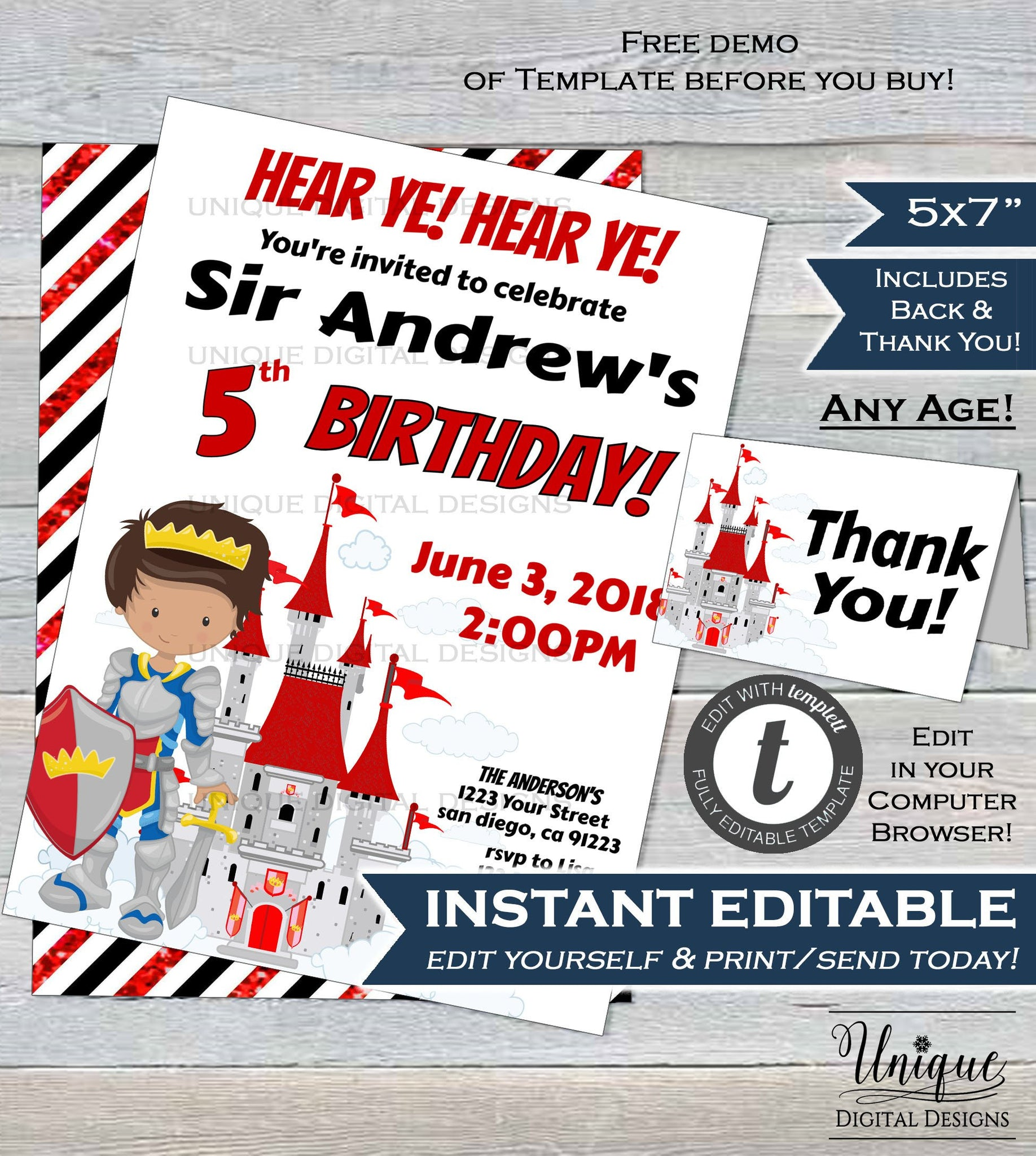 Knight Birthday Invitation Prince Castle Boys Party ANY Age Custom Printable INSTANT Self EDITABLE 5x7