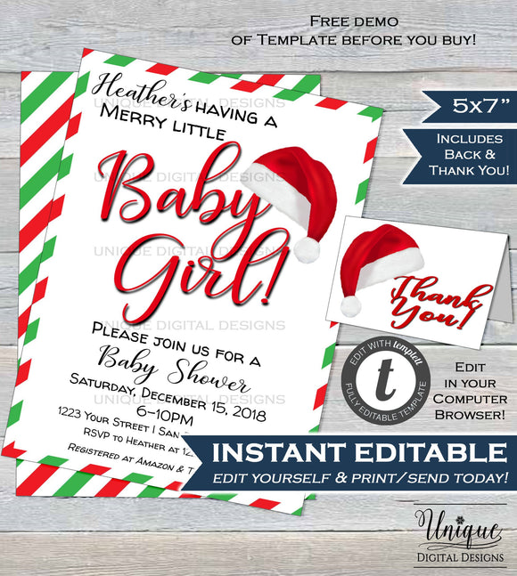Christmas Baby Shower Invitation Holiday Baby Shower Happy Holiday Party Baby Girl Christmas in July Printable Custom INSTANT EDITABLE 5x7