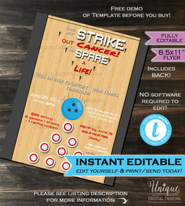 Bowling Fundraiser Flyer Spare a life & Strike out Pins Bowling Ball Lane Invitation Template Printable Custom INSTANT Self EDITABLE 8.5x11