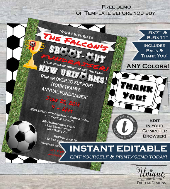 Soccer Team Fundraiser FLYER Shoot Out Tournament Soccer Goal Charity Invitation 3 on3 Custom Printable Template INSTANT EDITABLE 8.5x11 5x7