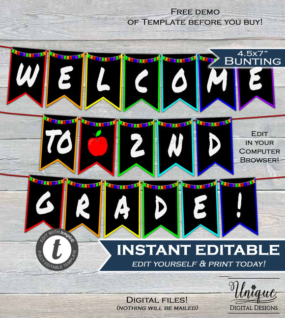Back to School Classroom decoration Welcome to School Pennant Flags ANY Grade Any Colors banner Printable Digital Template INSTANT EDITABLE