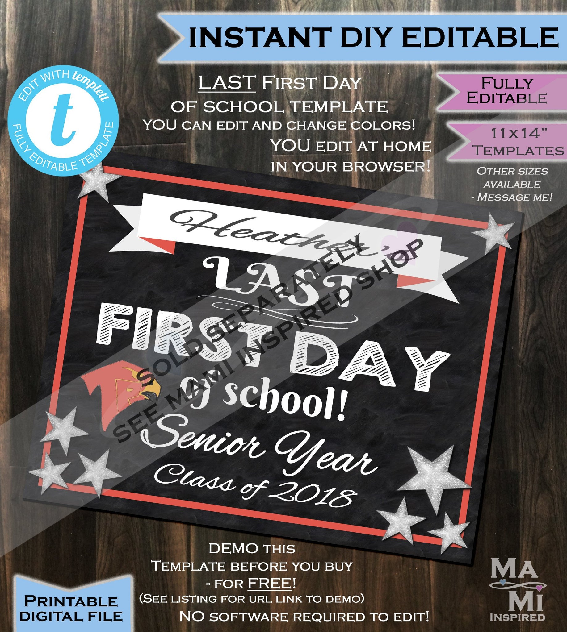 first day of school sign editable class of 2019 reusable any school colors any