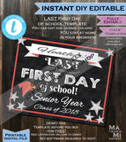First Day of School Sign, Editable Class of 2019, reusable Any School Colors Any Year Digital Printable Template INSTANT DOWNLOAD 16x20 8x10