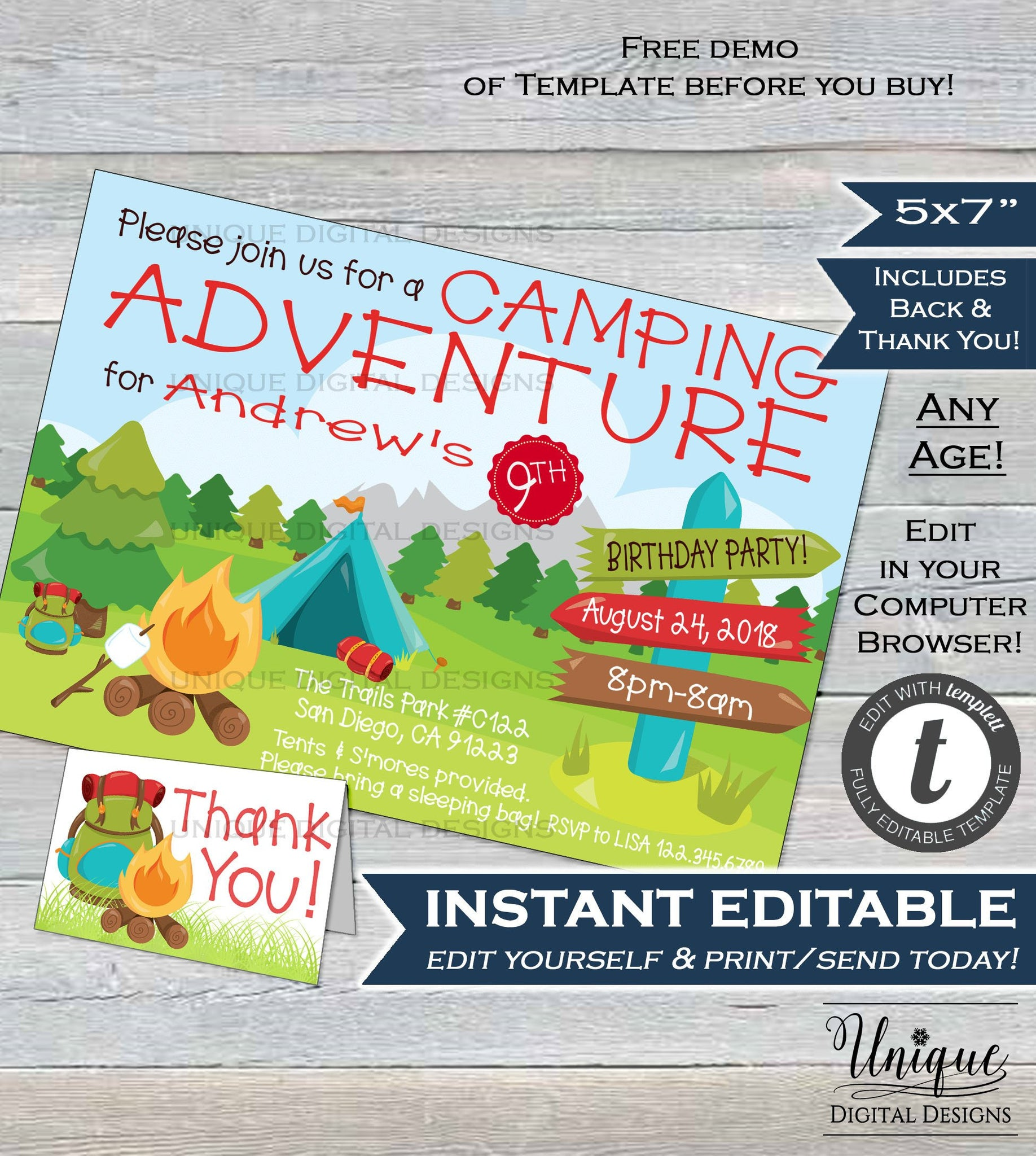 Camping invitation birthday camping adventure girl or boy birthday inv camping invitation birthday camping adventure girl or boy birthday invite any age custom printable template instant filmwisefo