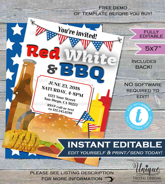 4th of July BBQ Invitations Red White and bbq Summer Yard Grill Out July 4th Barbeque Party Printable Personalized INSTANT Self EDITABLE 5x7