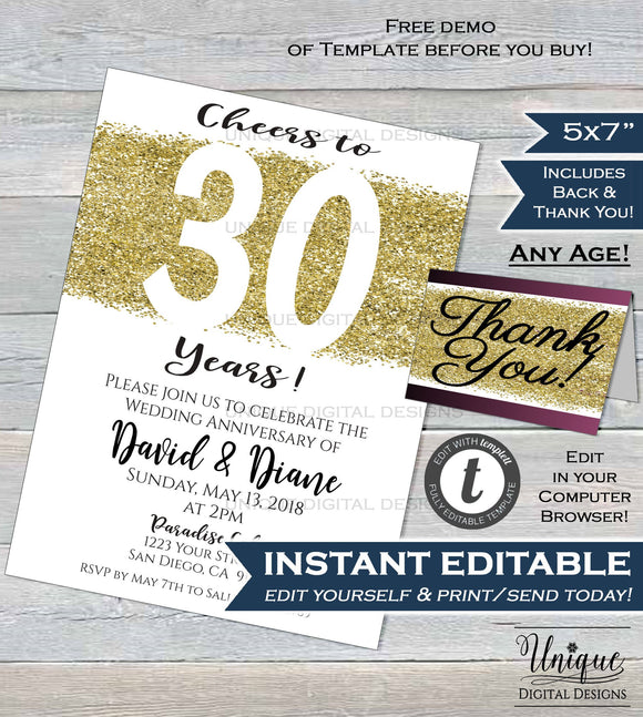30 year Anniversary Invitation Thirtieth Wedding Anniversary Pearl 30th Surprise Party Invite Custom Printable Template INSTANT EDITABLE 5x7