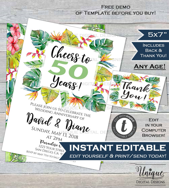 50 year Anniversary Invitation Golden Wedding Anniversary 50th Invite Tropical Paradise Ferns Custom Printable Template INSTANT EDITABLE 5x7