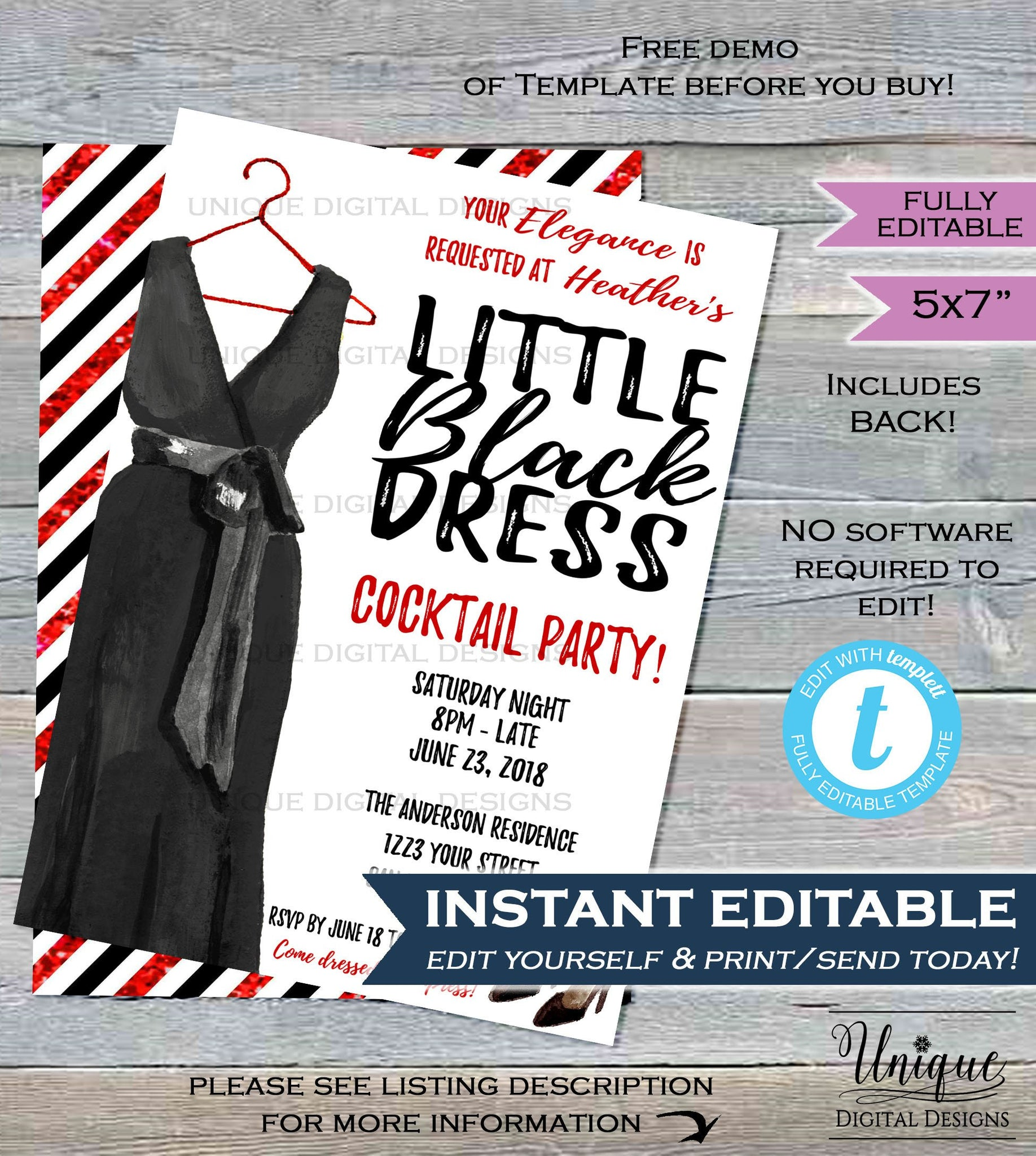 Little Black Dress Invitation Cocktail Party Invite Girls Night Out Dress to Impress Ladies Wine ...