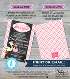 Girl Baby Shower Invitation Stork Baby Sprinkle Invite New Arrival Pink Baby Bundle Arriving Soon Template Custom Print INSTANT EDITABLE 5x7