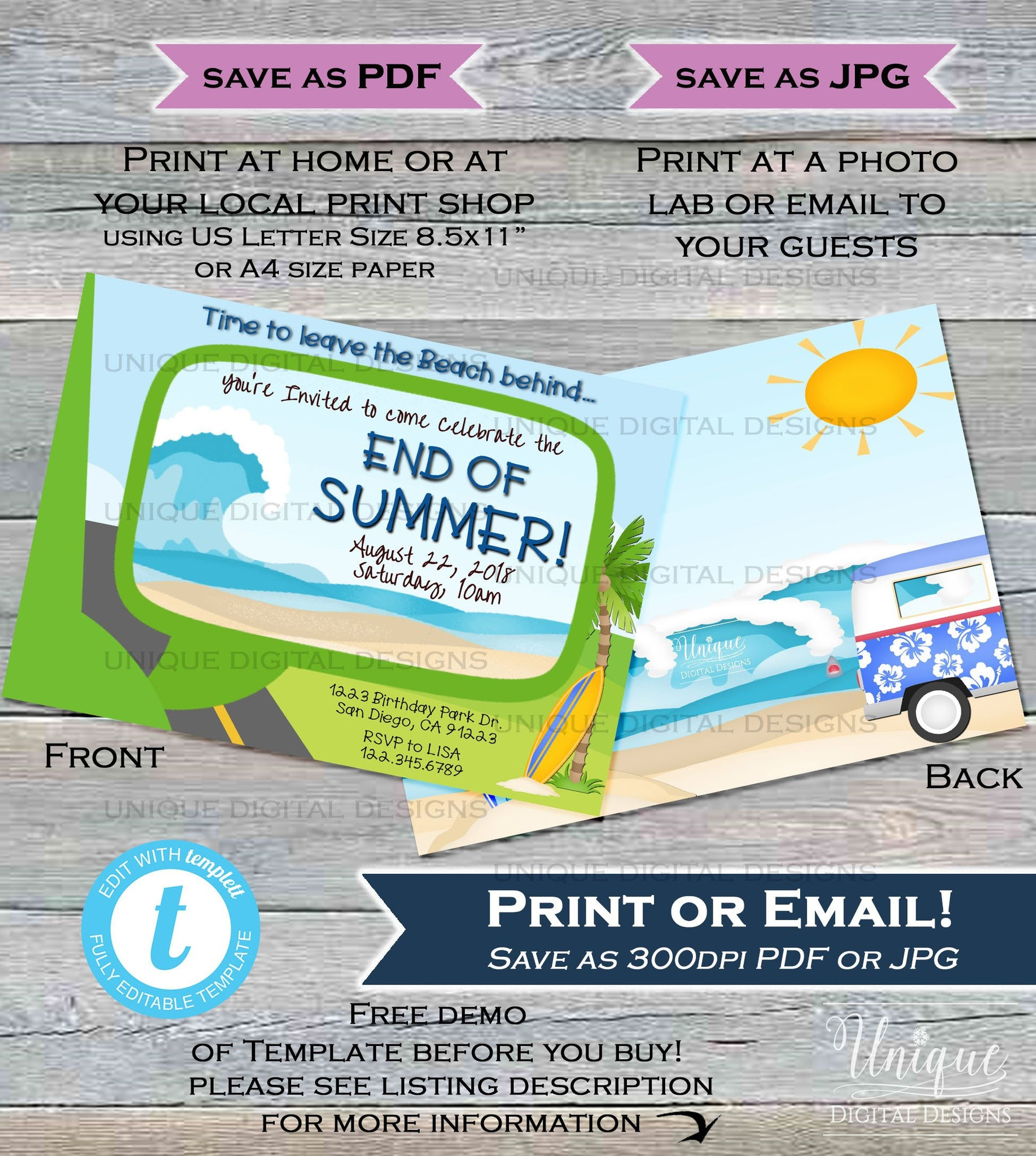 end of summer party invitation summer beach picnic wagon invite surfs