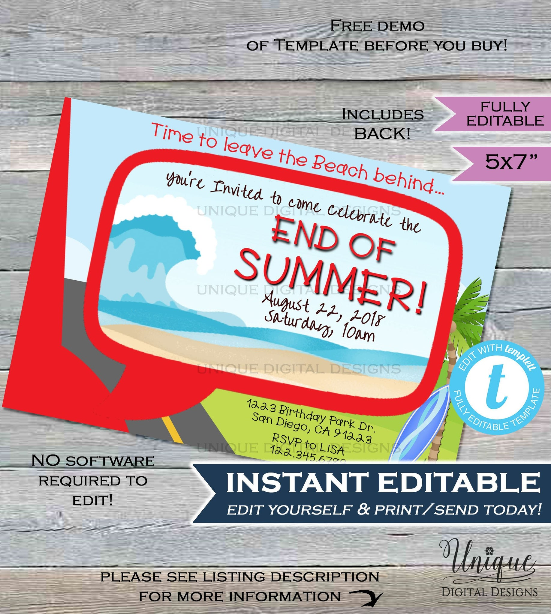 end of summer party invitation red goodbye summer leaving beach picnic