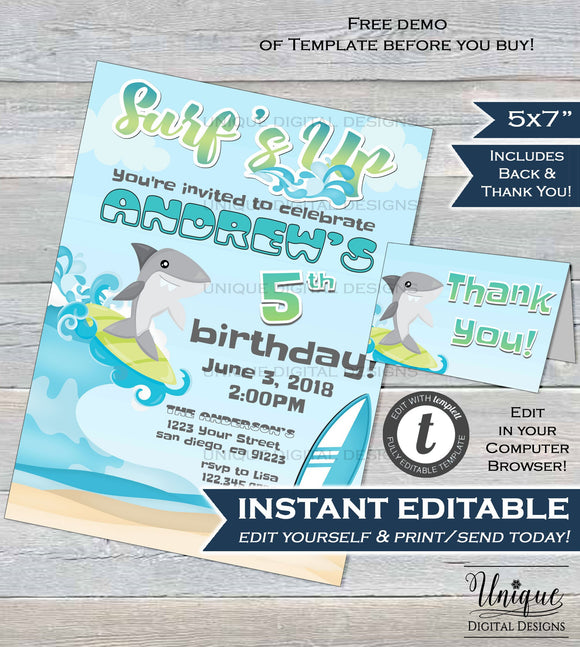 Surfs Up Shark Birthday Invitation Shark Bite Beach Boy Birthday Invite ANY Age Shark Week Custom Printable Template INSTANT EDITABLE 5x7