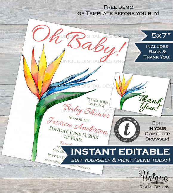 Bird of Paradise Invitation Flower Watercolor Baby Shower Invite Oh Baby Girl Baby Shower DIY Custom Printable Template INSTANT EDITABLE 5x7