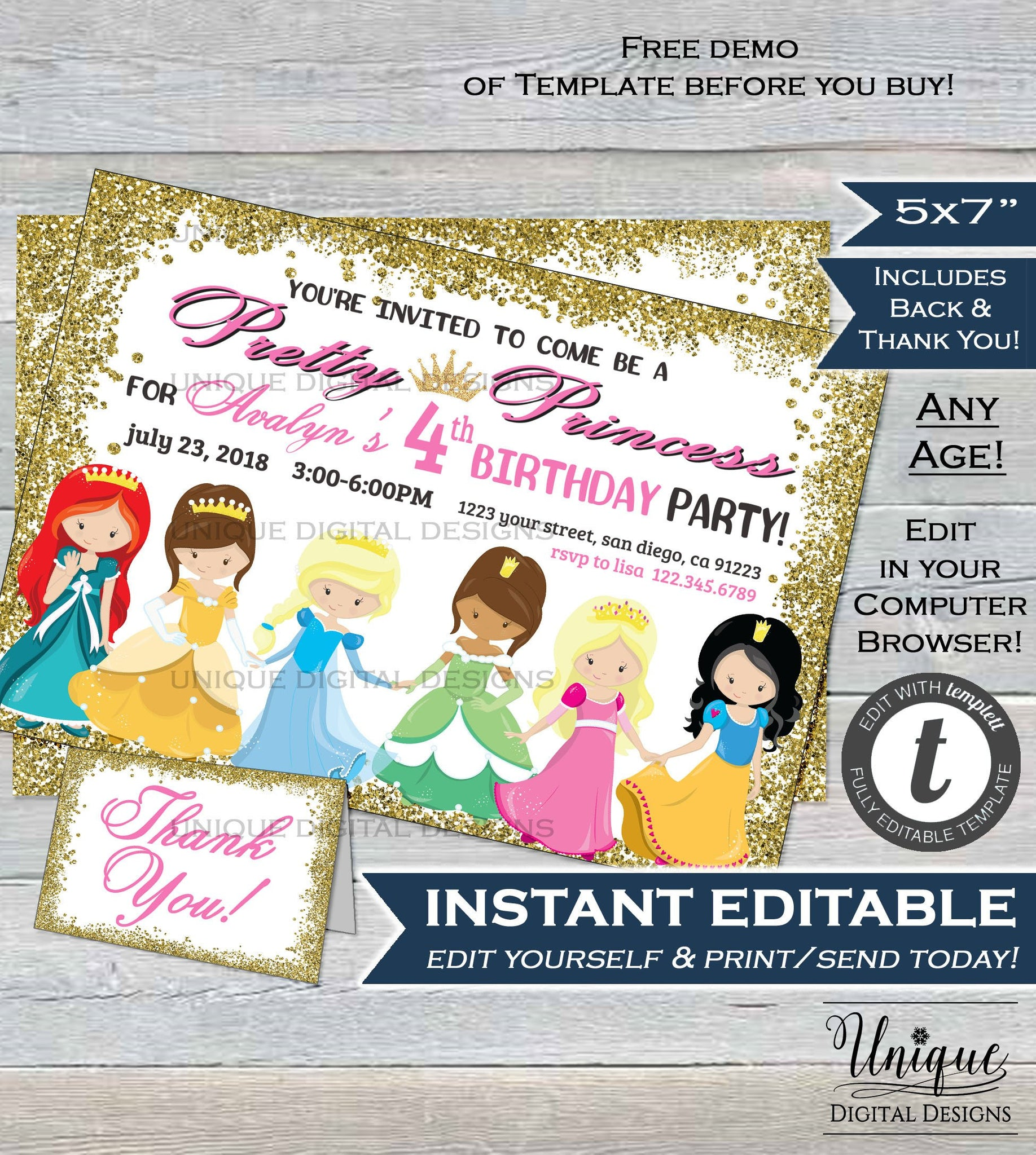 Pretty Princess Birthday Party Invite Queen Girls Invitation All Princesses ANY Age Custom Printable Template