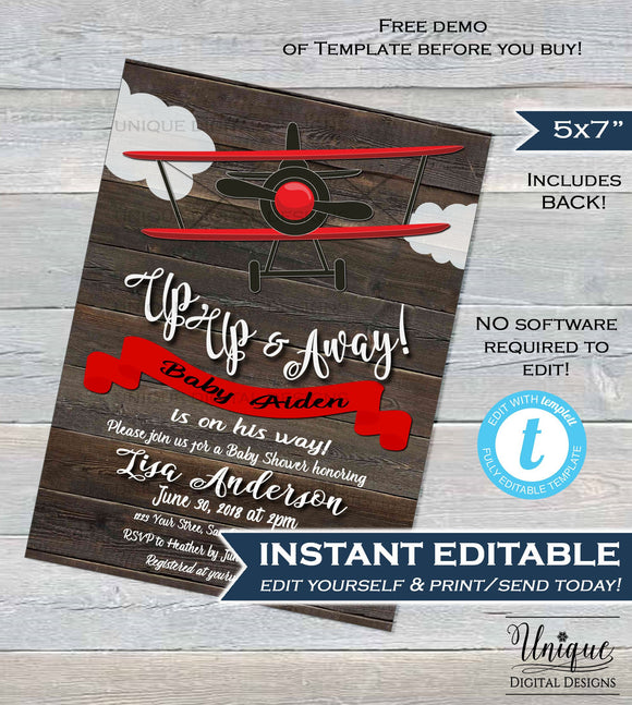 Airplane Baby Shower Invitation Template Airplane Boy Baby Shower Invite Rustic Wood Up Up & Away Baby Printable Custom INSTANT EDITABLE 5x7