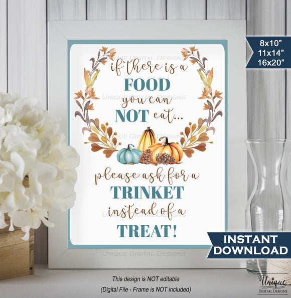 Teal Pumpkin Sign Trick or Treat Peanut Allergy Awareness Food Allergy Sign Digital Printable Poster INSTANT DOWNLOAD PDF 16x20 11x14 8x10