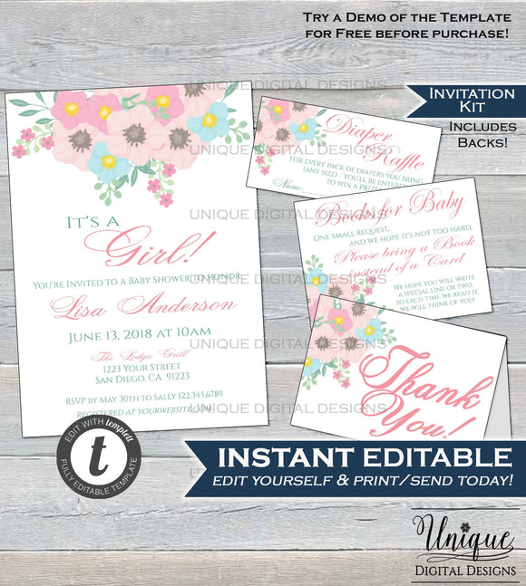 Floral Baby Shower Invitation Template KIT, Diaper Raffle Books for Baby Insert Thank You Pastel Flower Baby Shower Invite INSTANT EDITABLE