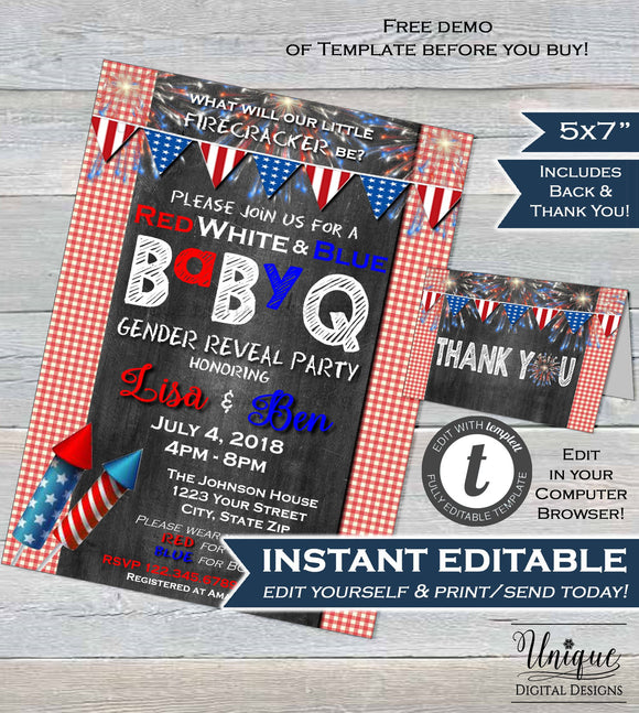 BabyQ Gender Reveal Invitation 4th of July Firecracker Baby Shower July 4th bbq Party red blue Printable DIY Custom INSTANT EDITABLE 5x7